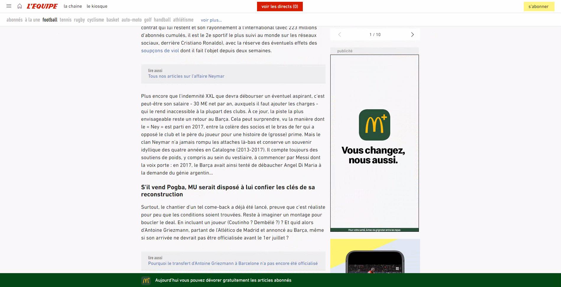 Article abonné 1 - Cas McDonald's